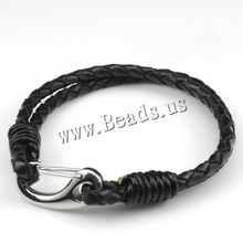 2015 Christmas Gifts!Mens Womens Rock Leather Rope Bracelets Stainless Steel Hook biker Punk Hip Hop High Quality Gift(China)