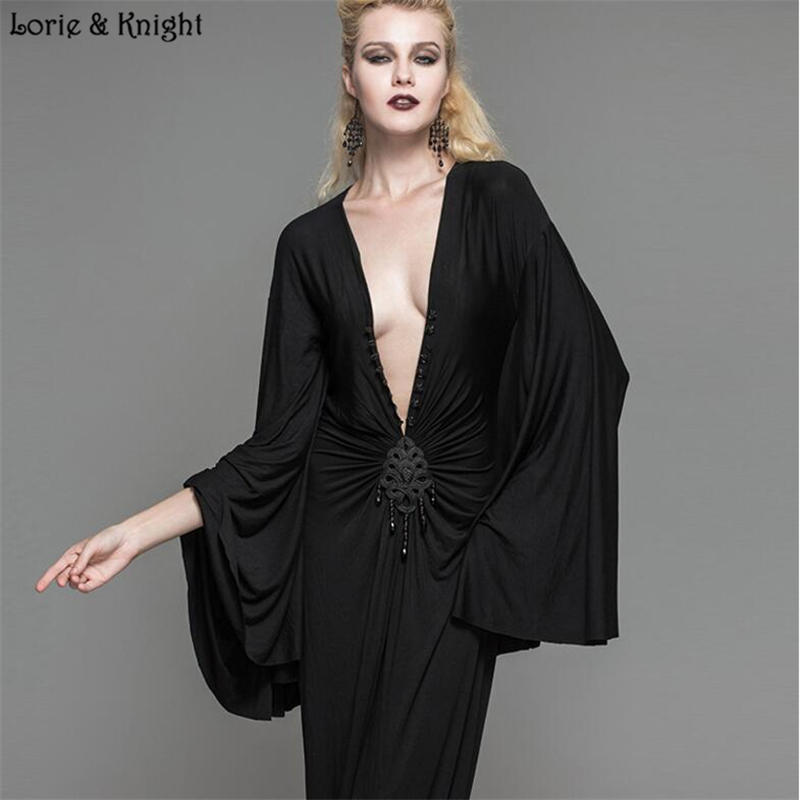 Women Long Sleeves Noble Retro Baroque Gothic Black Gown Long Dress SKT040