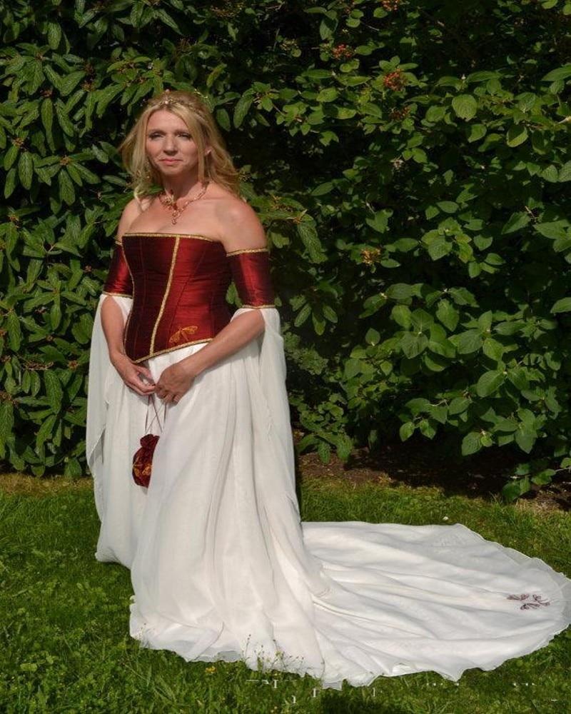 Dragenfly Stickerei Renaissance Burgund Satin Korsett Hochzeitskleid ...