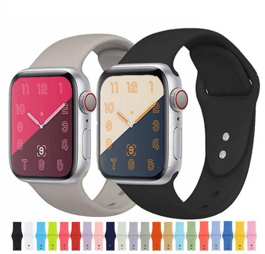 The Latest Silicone Strap For IWatch 4 40mm 44mm Rubber Sports Ring For Apple Strap Series 1/2/3 42mm 38mm Link