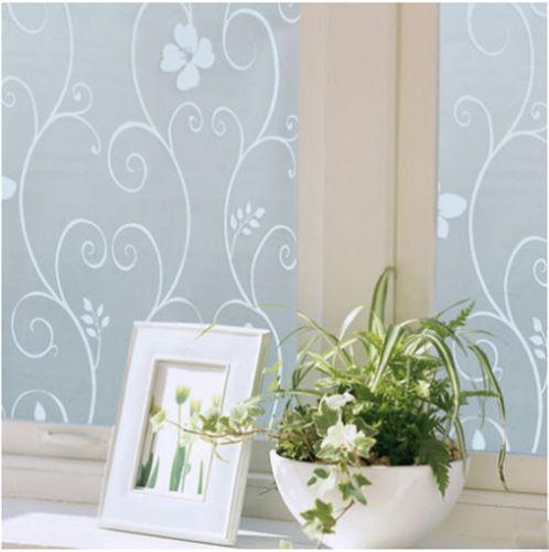 Hot Sweet 45x100cm Frosted Glass Window Floral Flower Sticker Film Cover Adhesive Room Bathroom Office Decor