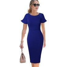 061c79bdd3 Vfemage kobiet elegancki wzburzyć szerokie rękawy Casual ubrać do pracy  biuro biznes Cocktail Party ołówkowa typu bodycon sukien.