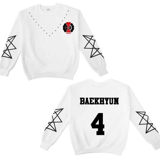Kpop exo nicht chaos up my tempo logo und mitglied name druck weiß sweatshirt unisex o neck stern ärmel pullover hoodies