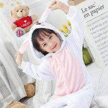 Розовый кролик теплый фланелевый флисовый одежда для сна детские пижамы  Комбинезоны девушка Новый год Рождество Зима cd682d5734e2b