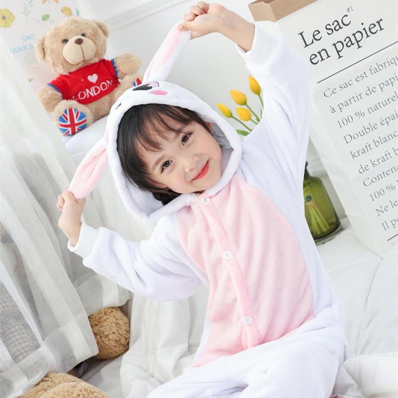 Pink Rabbit Warm Flannel fleece Sleepwear Baby Pajamas Onesies Girl New Year Xmas Winter Soft Jumpsuit Hare Costume Kid Cosplay