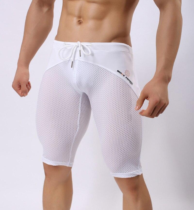 BRAVE PERSON Mesh Shorts Men Summer Skinny Mens Long Bermuda Shorts Bodybuiling Fitness Jogger Trousers Brand Swimsuit Breeches
