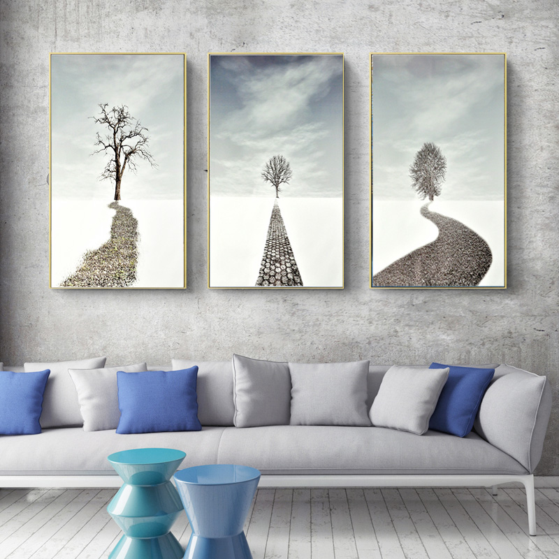 Snow, Prints, Painting, Road, White, Living