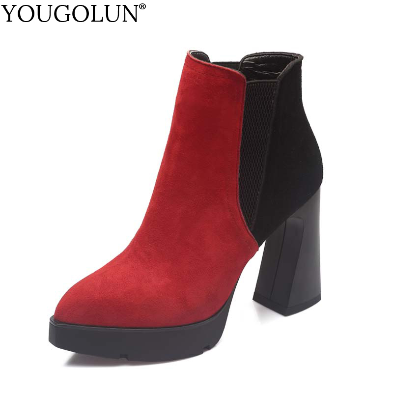 YOUGOLUN Women Sheepskin Suede Ankle Boots 2018 New Autumn Winter Hoof Heel 10 cm High Heels Pointed Toe Red Black Shoes #Y-174 yougolun women ankle boots 2018 autumn winter genuine leather thick heel 7 5 cm high heels black yellow round toe shoes y 233