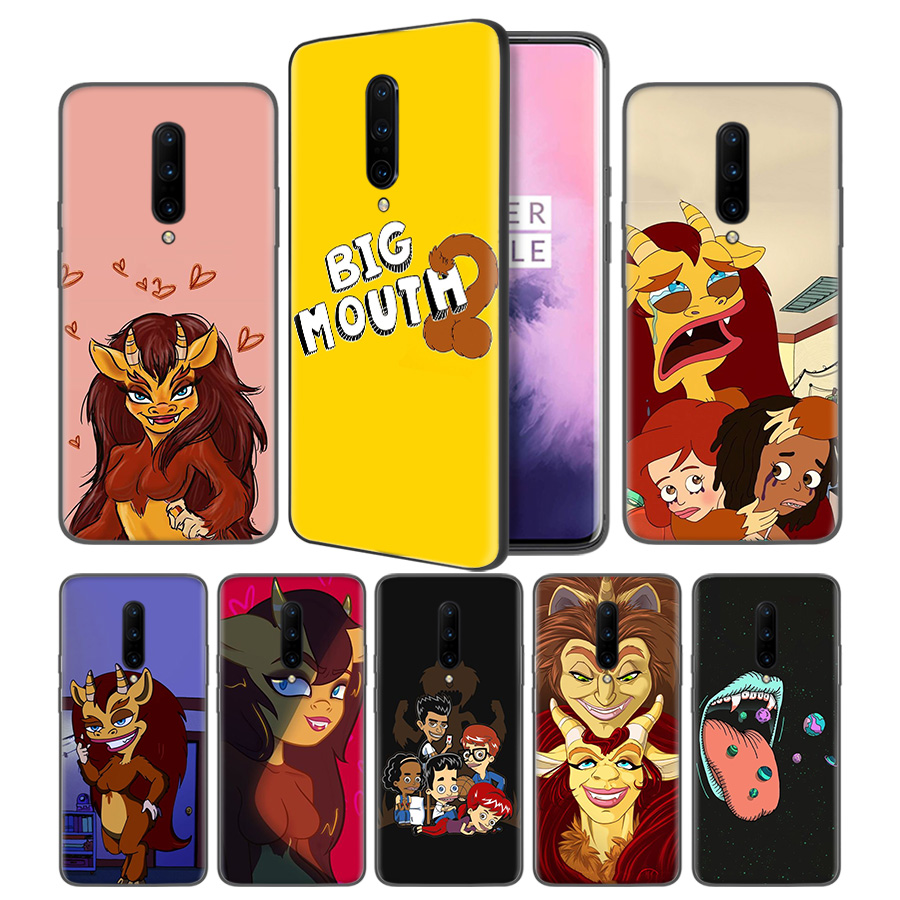 Cartoon Big Mouth Soft Black Silicone Case Cover for font b OnePlus b font 6 6T