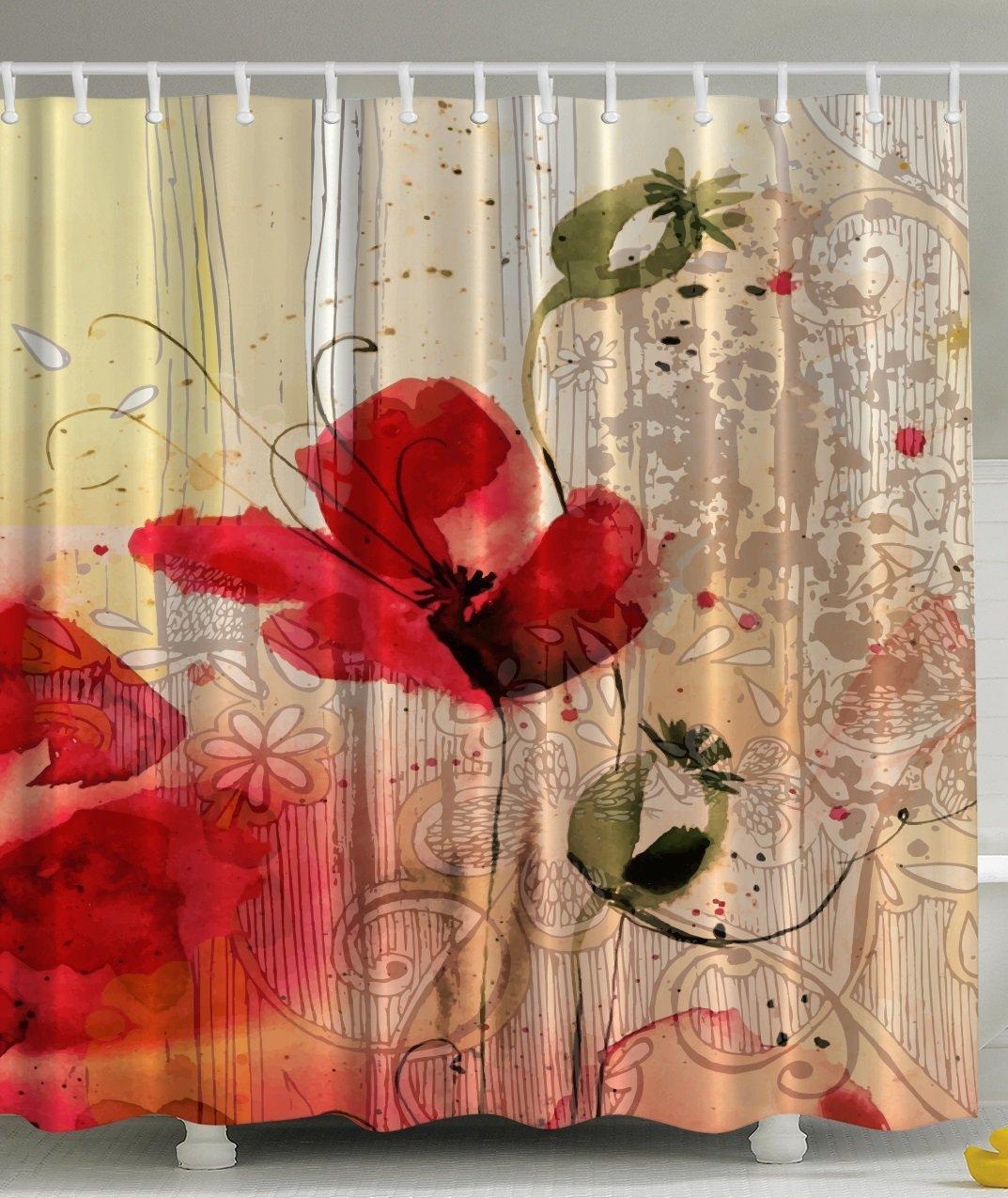 € 14.73 11% de réduction Mémoire maison rouge pavot fleur Beige Floral  tissu rideau de douche numérique Art salle de bain imperméable Polyester  tissu ...