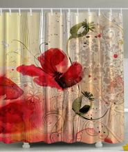 Red Poppy Flower Floral Fabric Fashiion Shower Curtain Polyester Hotel Bathroom With Hooks Ring72 X 72 Inch