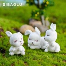 3pcs Artificial Rabbit Model Mini figurine cartoon animal fairy garden home miniature ornament desk office decoration accessory