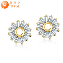FYM New Arrival Fashion Gold Color Red Green Stud Earrings for Women Big Crystal AAA CZ Ear Earrings for Woman Wholesale ER0243 fym fashion new arrival plant white crystal stud earring copper gold color trendy aaa cubic zirconia cz earrings women