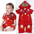 2016 Do Bebê Das Meninas do Menino Infantil Homem De Ferro Vermelho Com Capuz Romper Playsuit Babygrows Outfit Jumpsuit 0-18 M