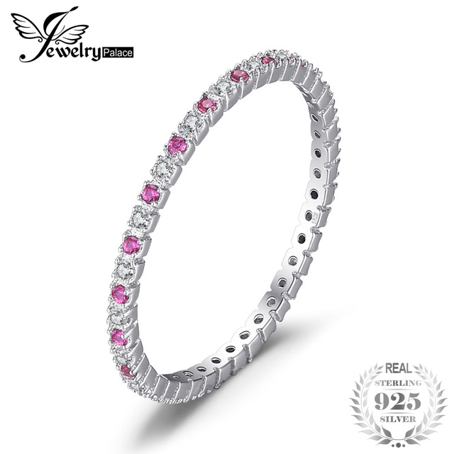 JewelryPalace Exquisite Round Created Ruby Wedding Band Ring For Women Pure 925