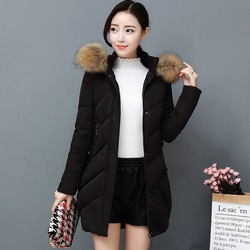 HLMFS winter female jacket coat women fur collar hooded long jacket pink warm lady plus size quilte slim cotton padded   parkas