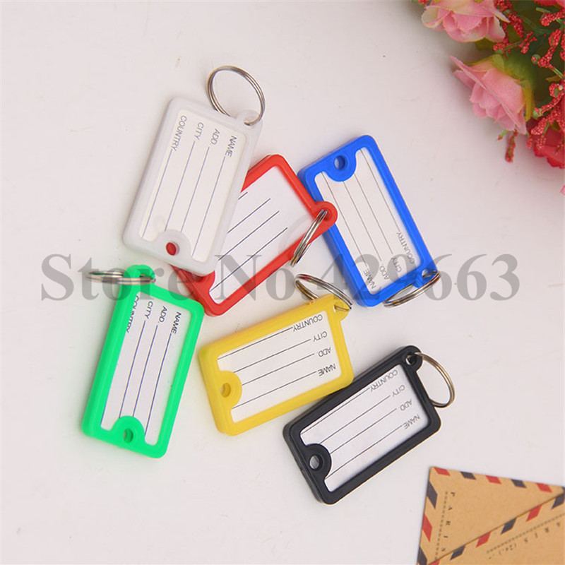 100Pcs 2- sides Plastic Rectangle Keychains luggage tag Pet Tags key ID Label for hotel