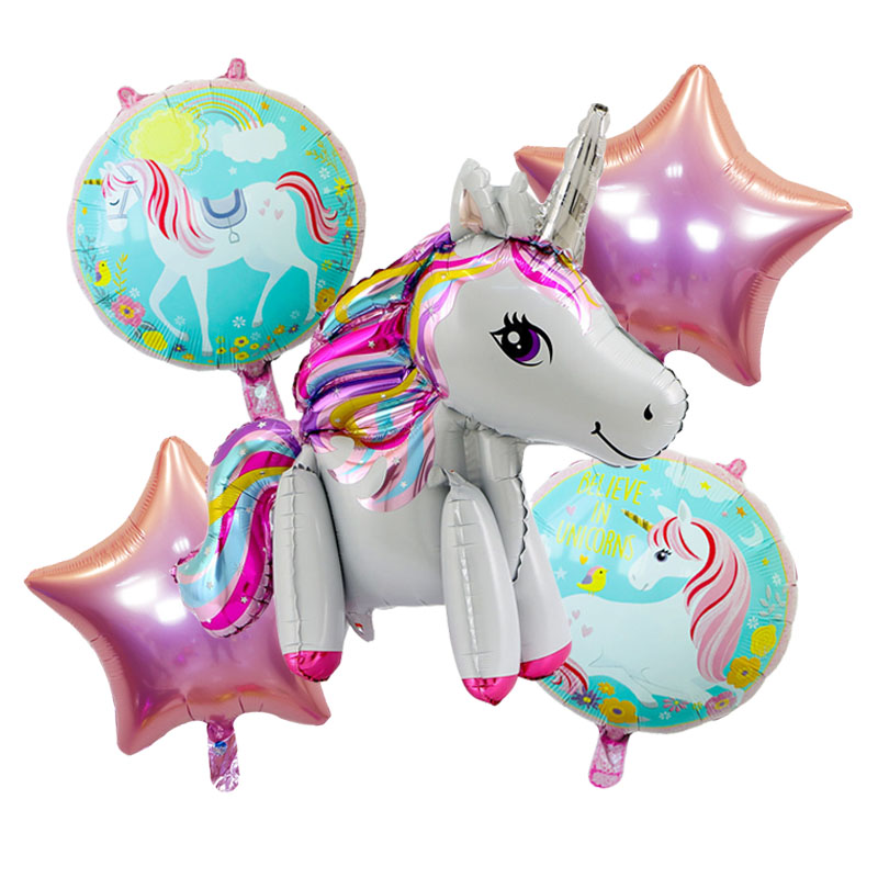 5Pieces/lot Unicorn Balloon Foil Balloons Birthday Party Decorations Kids Wedding Decorations Unicorn Party Supplies Baby Shower