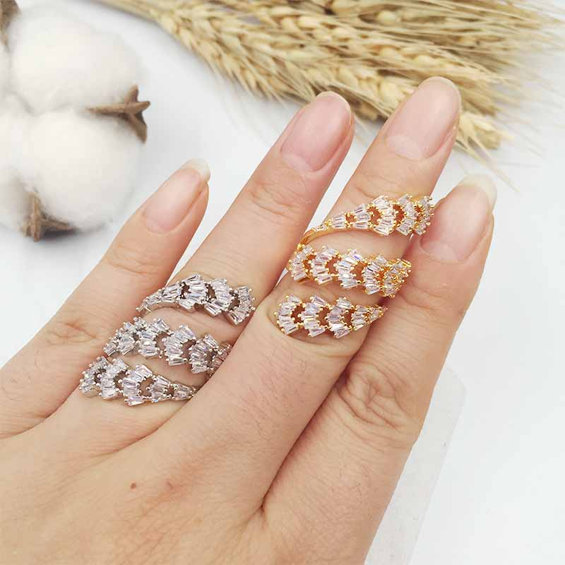 HADIYANA special AAA Cubic zirconia 3 lined wavy leaf ring brilliant trendy cute gift party accessaries CP193