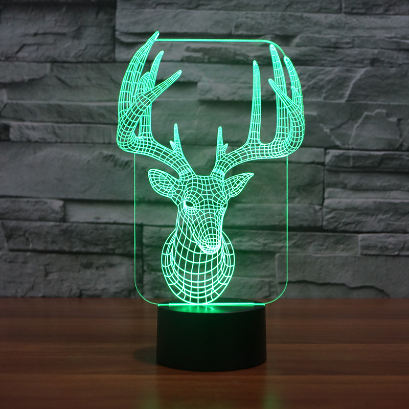 3d Led Bureau Tafel Herten Nachtlampje Lamp 7 Kleur Touch Lamp Kiddie Kids Kinderen Familie Holiday Gift Home Office Childrenroom De Puur Wit En Doorschijnend