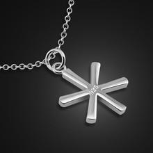 Presentes de natal. Moda simples pingente de floco de neve jóias meninas. Solid prata esterlina 925 colar de mulheres. Encantadora senhora