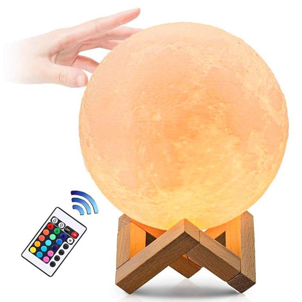 usb light gadgets 16color fashion usb lamp gadgets electronicos Moon LED lamp 250mAh 3D printing technology light dropshipping