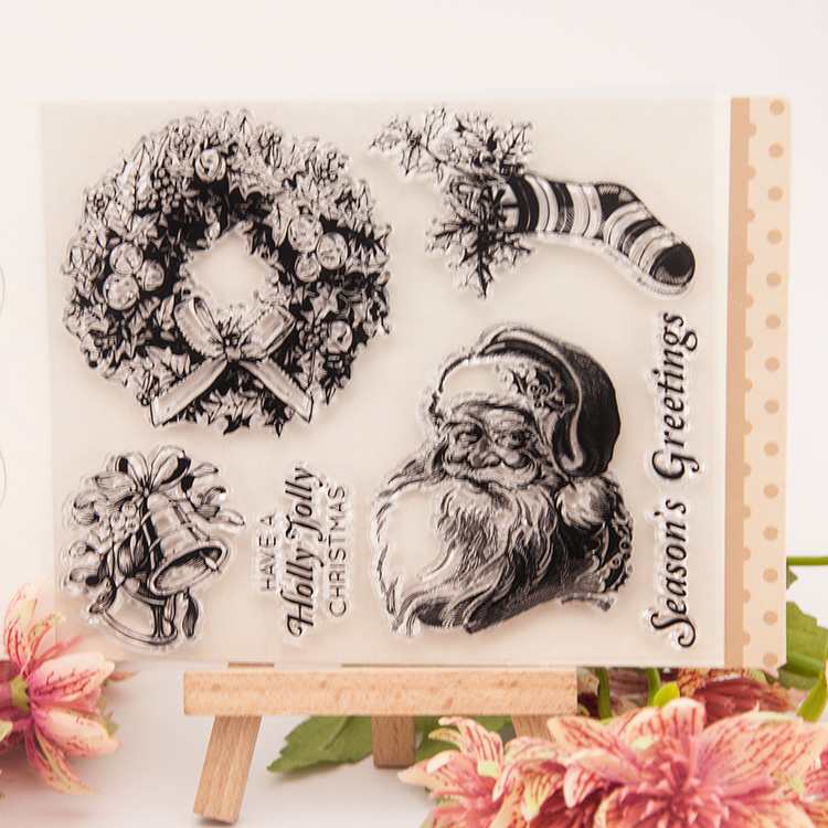 Christmas Santa Claus Transparent Silicone Rubber Clear Stamps cartoon for Scrapbooking/DIY wedding album seal inflatable cartoon customized advertising giant christmas inflatable santa claus for christmas outdoor decoration