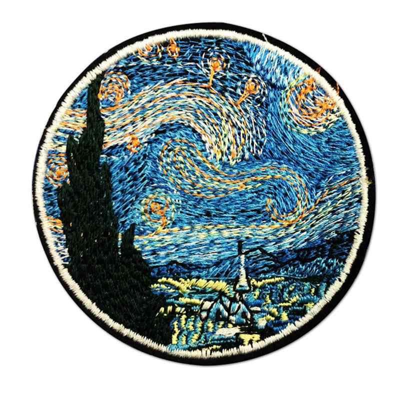 5 шт. круглые нашивки звездного неба с вышивкой, железные нашивки на одежду, DIY Сумочка, декоративные наклейки, пэчворк