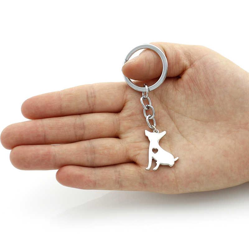 TAFREE 2017 new dog pingente México chihuahua animal chaveiro de aço inoxidável titular do anel chave de cadeia para mulheres homens jóias SKU05