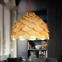 Modern Art DĄB Drewniane Szyszka Światła Wisiorek Wiszące Lampa Karczocha Drewna do Jadalni Restauracja Retro Oprawy Oprawy