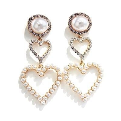 2019 New Arrival Metal Classic Geometric Women Dangle Earrings Korean Crystal Earrings Temperament Long Pearl Fairy Jewelry