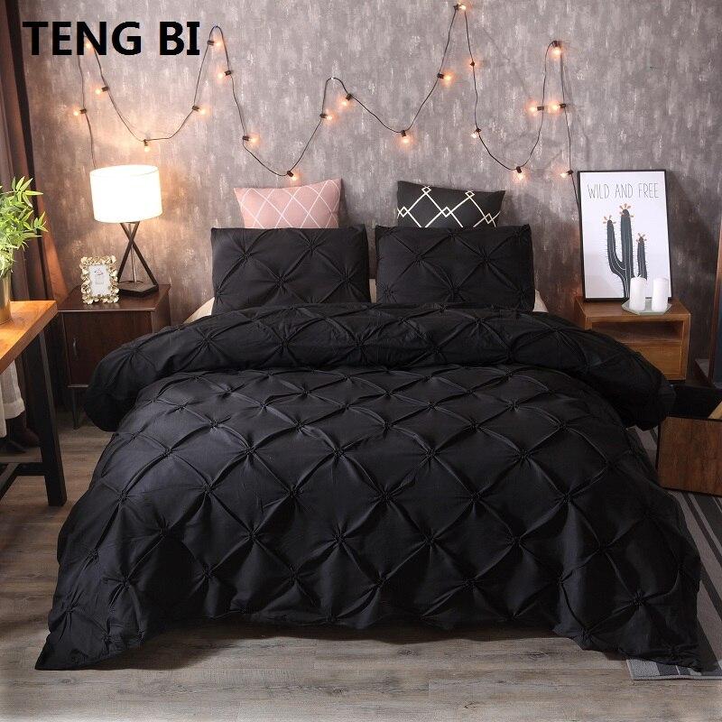 Novo estilo europeu e americano moda simples casa têxtil preto branco cinza cor sólida conjunto de cama rainha rei 3 peças