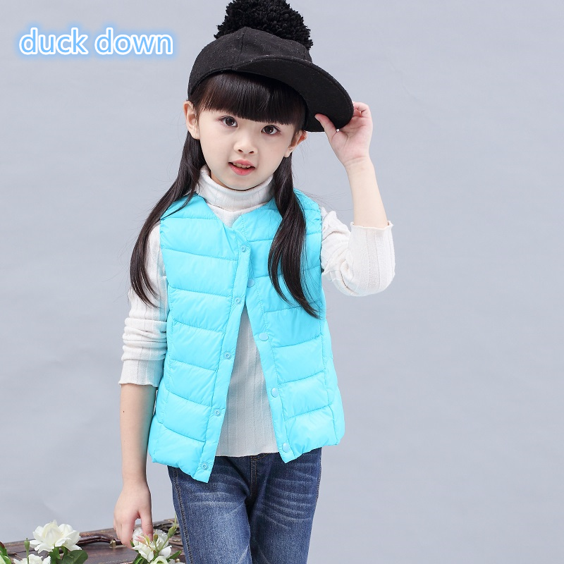 Children's down vest for girls boys kids warm waistcoats in winter autumn spring lightweight letter 2017new style and cheap blue