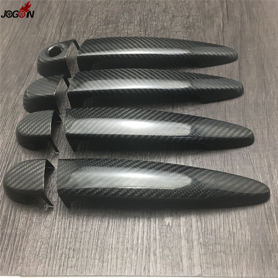 Carbon Fiber Exterior Door Handle Cover Trim For BMW 3 Series E90 E91 E92 E93 F30 2006 - 2016 for bmw lhd carbon fiber auto door handle knob exterior trim covers for bmw 1 3 4 series e90 e92 e93 f30 f35 2005 15 sticker