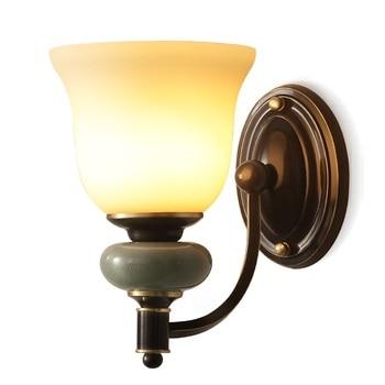 Szkło Nordic lampy ścienne LED ścienne oprawy oświetleniowe miedzi Wandlamp sypialni obok kinkiet lampka do sypialni Bar schody oświetlenie