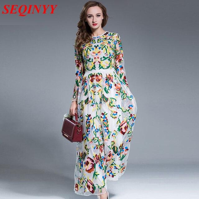 6d6594d04 أنيقة ضئيلة اللباس 2017 أزياء جميلة جميلة النساء المتضخم الزهور تطريز ثوب  طويل الأكمام الكاحل طول