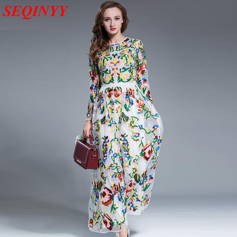 Elegant Slim Dress 2017 Fashion Nice Beautiful Women Oversized Long Sleeve Ankle Length New Arrival Flowers Embroidery Dress