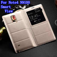 Auto sleep/Wake Up For Samsung Galaxy Note 4 Note4 N9100 Back Housing Cover Flip Smart View Window Leather Cover Case