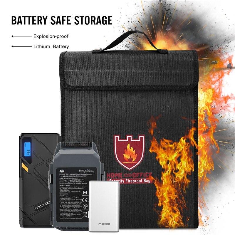 En gros 10 pièces sécurité ignifuge Document sac coffre-fort sac caisse fichier enveloppe organisateur avec poignée forte 38x30x6.5 cm noir