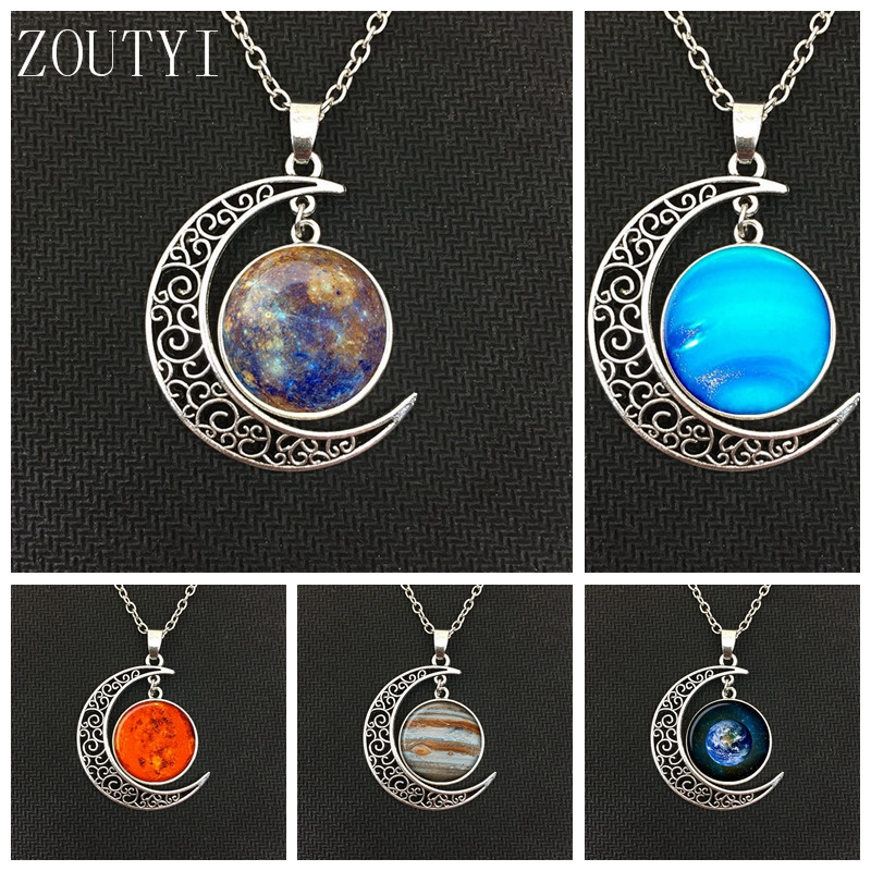 2018 / fashion hot money charm planet Mars Jupiter Neptune Mercury moon pendant necklace jewelry, men and women necklace. ...