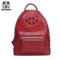Mckarko рюкзак для женщин Роскошные Крокодил пояса из натуральной кожи Back Pack элегантный дизайн портфель из крокодиловой кожи для Модные женски