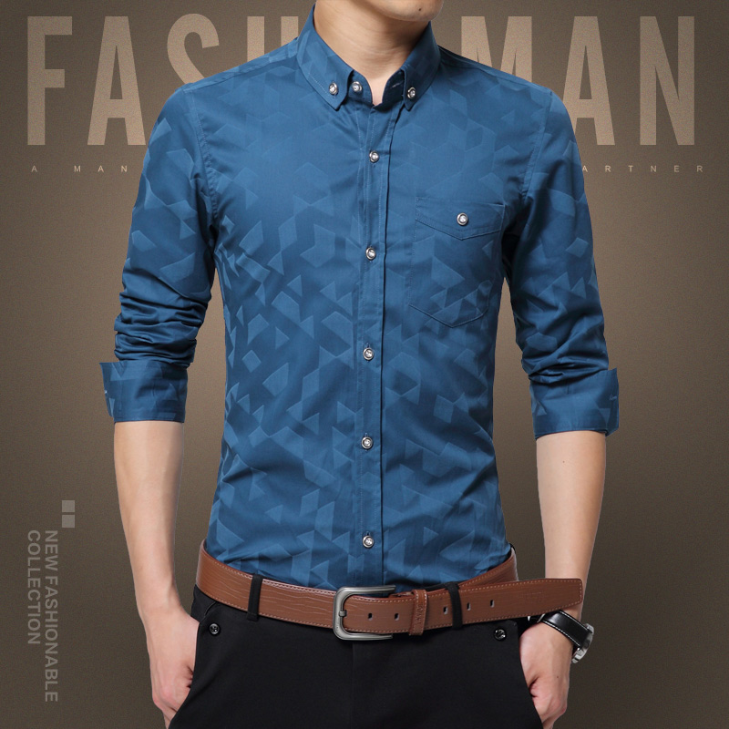 Men Dress Shirt Long Sleeve Slim Designer Solid Male Clothing Fit Casual Long Sleeved Printed Slim Fit Male Social Business Dres