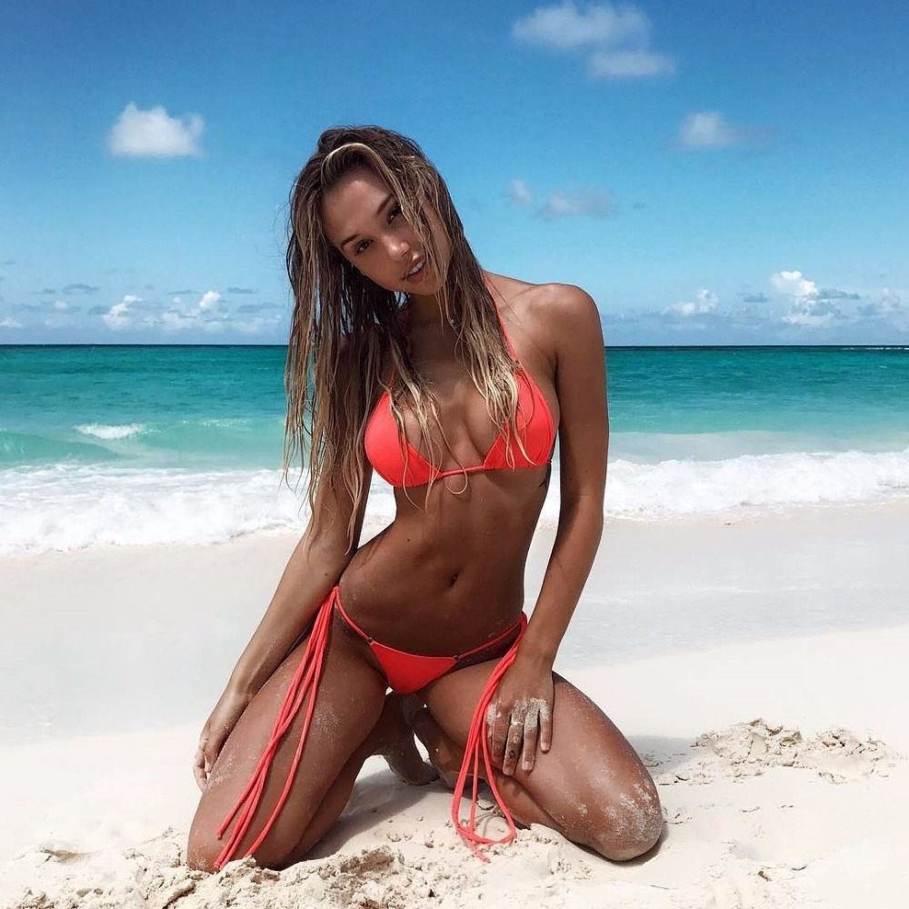 2018 swimsuit summer new Hot sexy pure color women bikini set bandage swimsuit brazilian multi-color swimwear bikini women