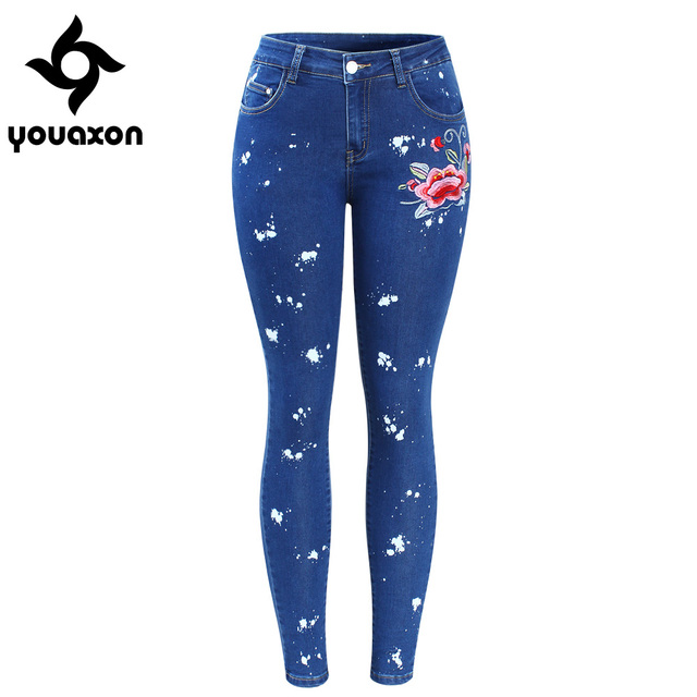 d36fd84e69318 2108 Youaxon Plus Size Floral Dirty Jeans With Embroidery Flower Women  Stretchy Denim Pants Trousers For Woman Skinny Jeans