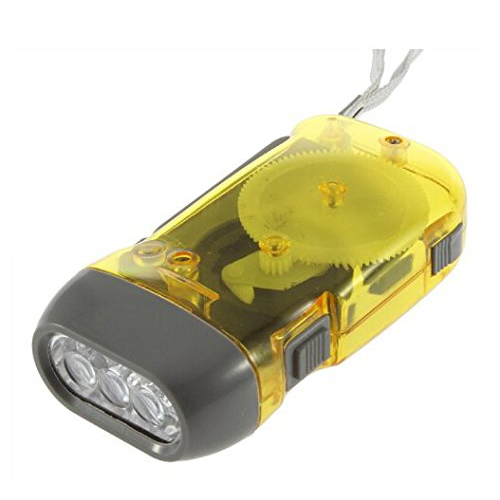 R Yellow 3 LED Hand Press No Battery Wind up Crank Camping Outdoor Flashlight Light Torch SODIAL