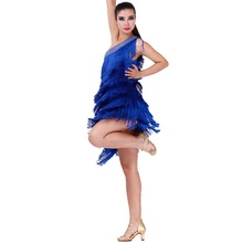 hot sale good quality sexy tassel Latin dance dress orange/blue/red elegant tango/rumba/samba dance wear competition dress