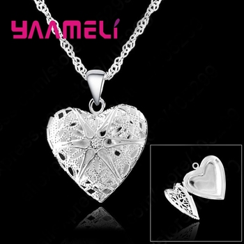 Hollow Out 925 Sterling Silver Chains Necklace Heart Shape Open Case Frame Pendants Necklaces For Women Party Jewelry