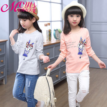 Children's clothing autumn spring long-sleeved bottoming shirt cartoon round neck wild casual new t-shirt baby girl clothes