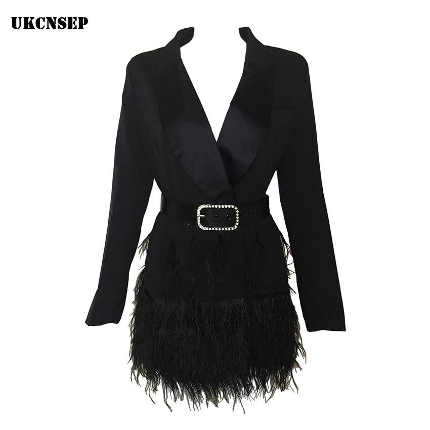 2018 Fashion Women Jacket black Feathers Notched jaqueta feminina Celebrity Jackets Elegant Lady Winter coat With Belt