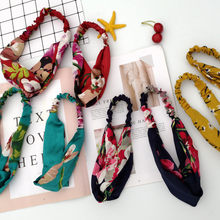 Mommy&Me Women's Hair Band Hair Ties Printing Floral Ruffles Hair 2019 Spring Autumn New plus size soft Fashion Simplicity(China)